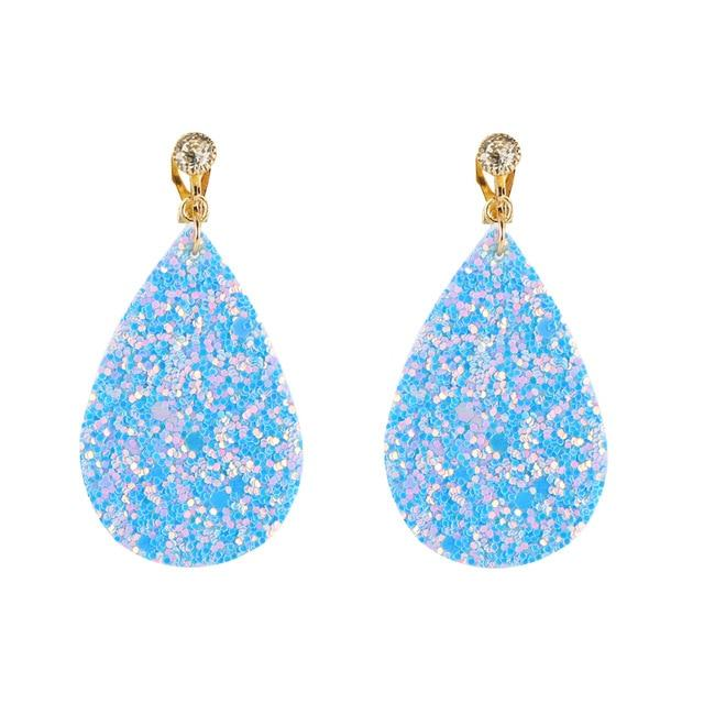 Sequined Clip On Earrings Sissy Panty Shop light blue