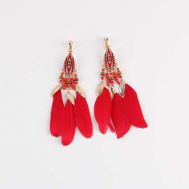 Bohemian Feather Clip on Earrings Sissy Panty Shop red