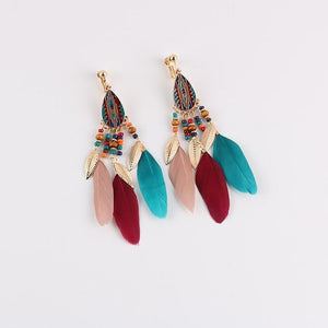 Bohemian Feather Clip on Earrings Sissy Panty Shop mix