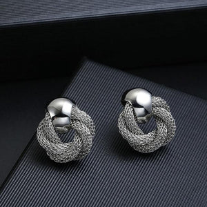 Mesh Chain Clip On Earrings Sissy Panty Shop silver