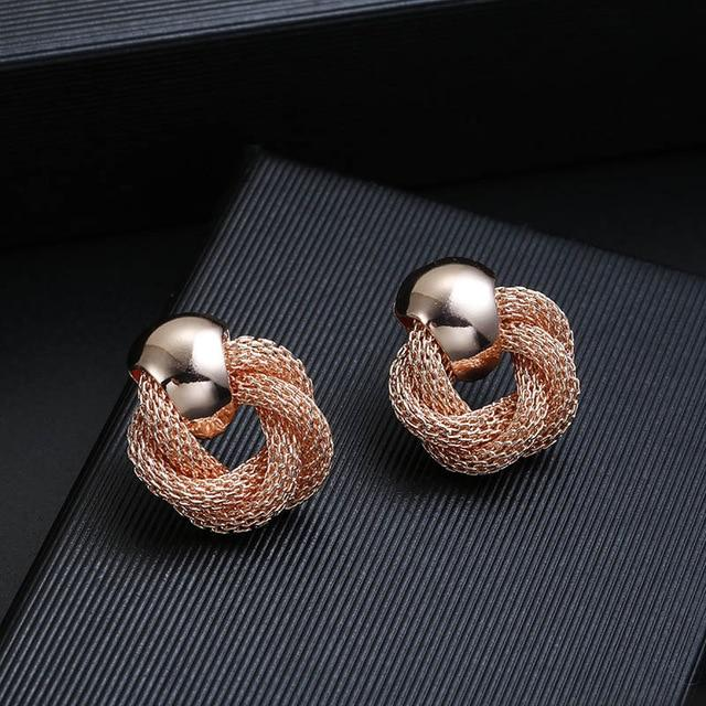 Mesh Chain Clip On Earrings Sissy Panty Shop rose gold