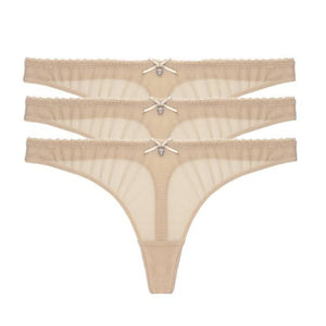 """Sissy Violet"" 3 Piece Transparent Thong Set Sissy Panty Shop 3 beige S"