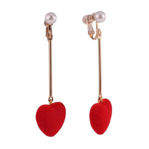 Dangling Hearts Clip On Earrings Sissy Panty Shop red