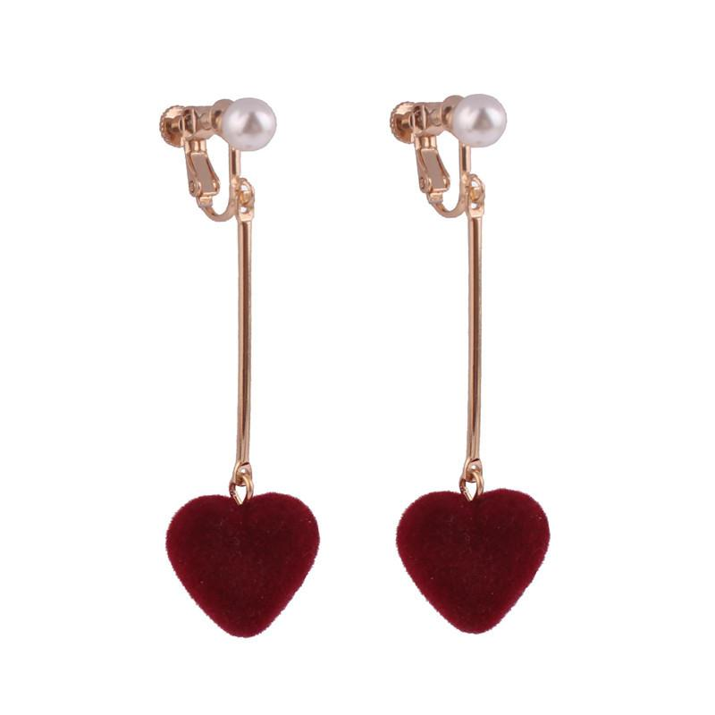 Dangling Hearts Clip On Earrings Sissy Panty Shop wine red
