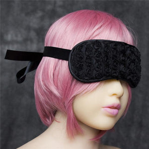 Flower Fetish Eye Mask Sissy Panty Shop Satin Black 1PC
