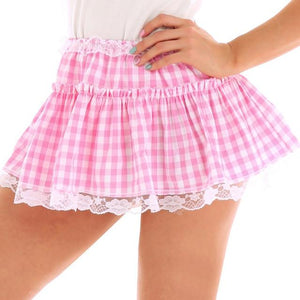 Mini Pleated Plaid Skirt Sissy Panty Shop Pink XS
