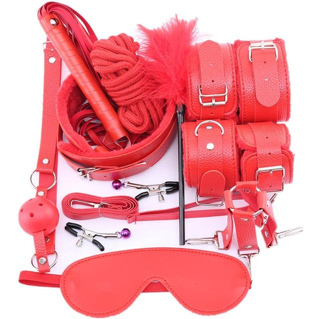 10 Pcs Bondage Set Sissy Panty Shop PU 10 PCS-red
