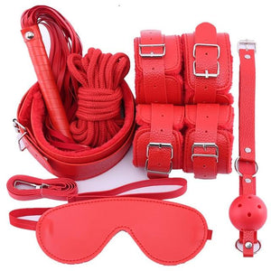 10 Pcs Bondage Set Sissy Panty Shop PU 7 PCS-red
