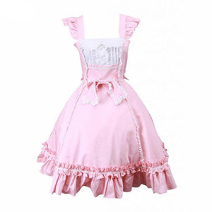 Pink Bow & Ruffles Lolita Cotton Dress Sissy Panty Shop