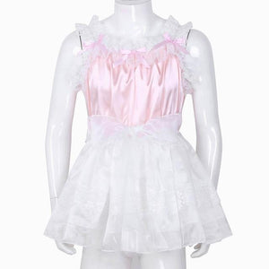 Ruffled Lace Tulle Sissy Dress Sissy Panty Shop Pink M