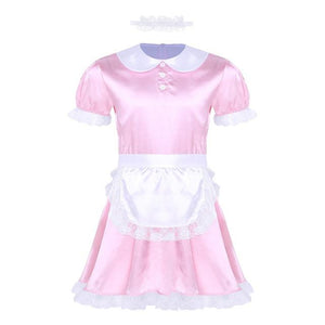 3 Pcs Sissy Girl Maid Uniform Sissy Panty Shop Pink M
