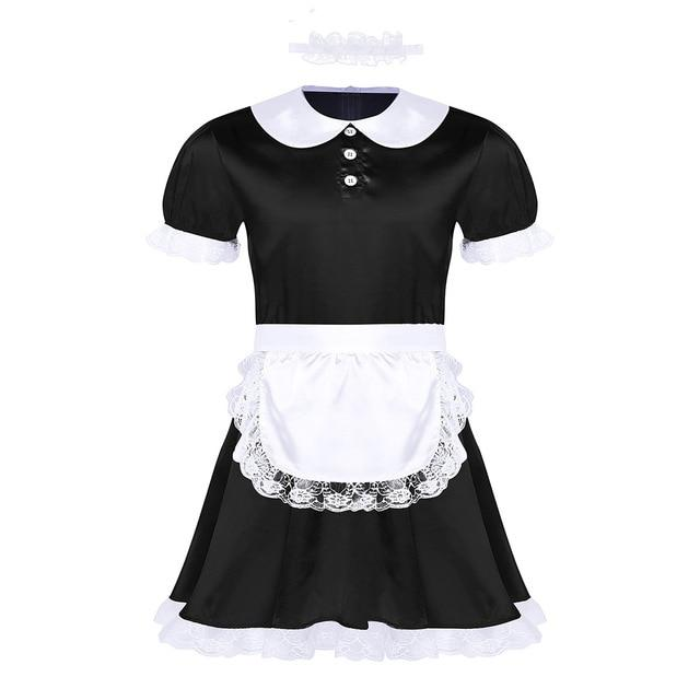 3 Pcs Sissy Girl Maid Uniform Sissy Panty Shop Black M