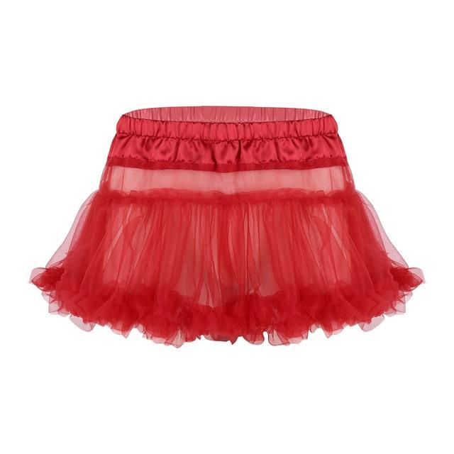 Frilly Ruffled Tulle Sissy Skirt Sissy Panty Shop Red One Size