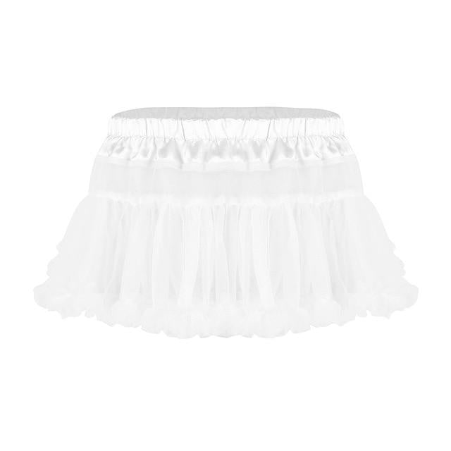 Frilly Ruffled Tulle Sissy Skirt Sissy Panty Shop White One Size