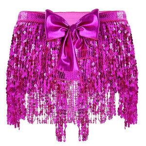 """Sissy Amy"" Sequin Tassel Skirt Sissy Panty Shop Rose Red One Size"