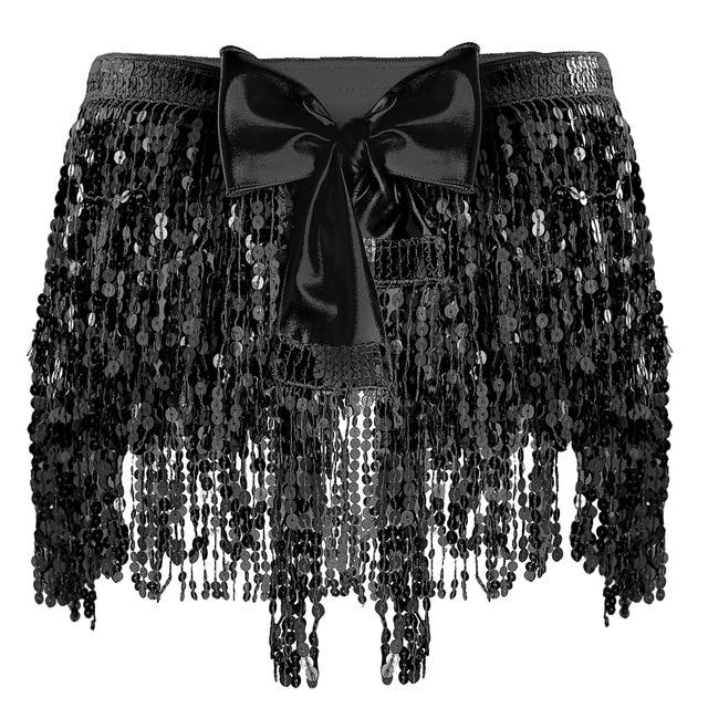 """Sissy Amy"" Sequin Tassel Skirt Sissy Panty Shop Black One Size"