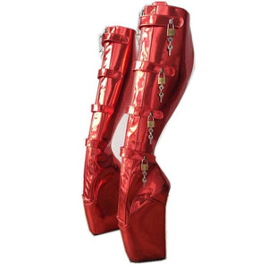Lockable Red Ballet Wedge Boots Sissy Panty Shop