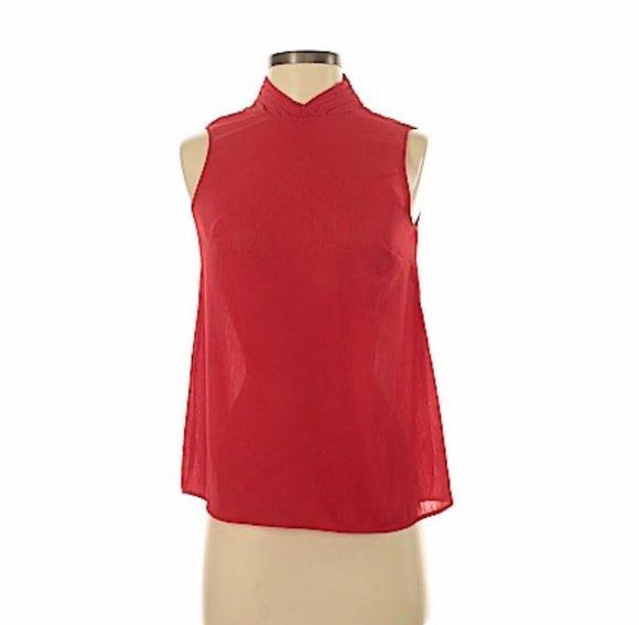 Red neck sleeveless blouse