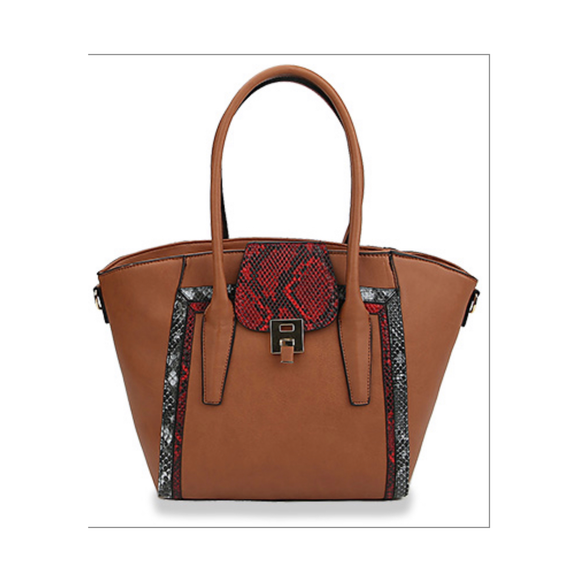 Snakeskin Detail Tote Bag