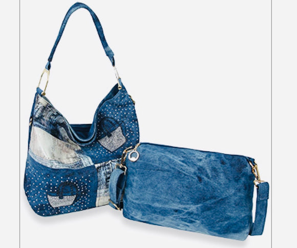 2 Piece Denim Handbag Set