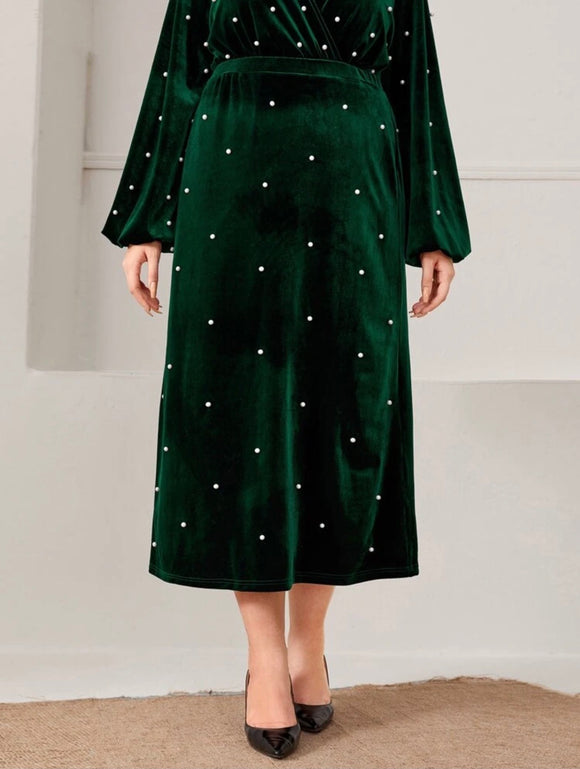 Green Pearl Embellished Velvet Skirt