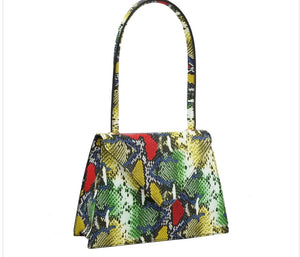 Snakeskin Print Vegan Leather Handbag