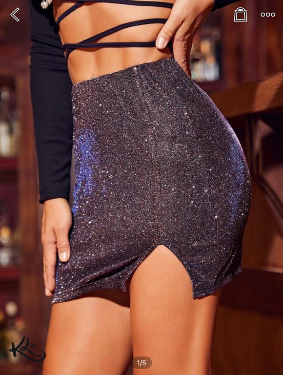 Purple Shimmer Mini Skirt
