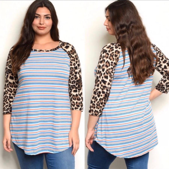 Plus size 3/4 sleeve leopard print scoop neck tunic top