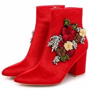 Ladies red vegan boots
