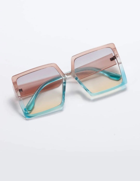 Multicolored Square Frame Sunglasses