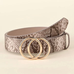 Snakeskin Print Vegan Leather Belt