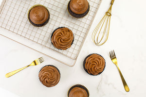 Moist Chocolate Cupcakes and Chocolate Espresso Tumaco 65% Frosting