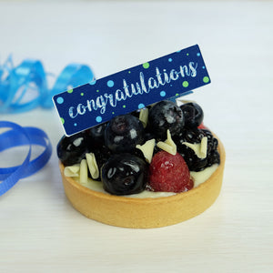 Congratulations Chocolate Decor on fruit tart