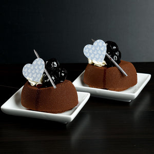 Wedding Heart-Silver Chocolate Decor on mousse cakes with amarena cherries