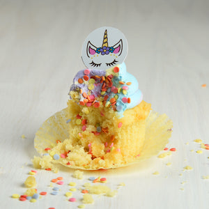 Unicorn Face Chocolate Decor on rainbow cupcake with confetti spilling out