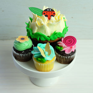 Ladybug Chocolate Decor on flower cupcakes
