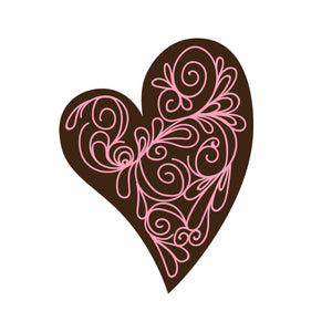 Scroll Heart Chocolate Decor detail