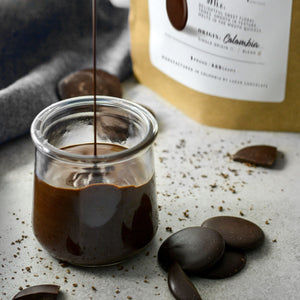 Misterio 58% dark chocolate couverture melted in jar
