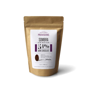 Sombra 54% dark chocolate in bag packaging 1 lb