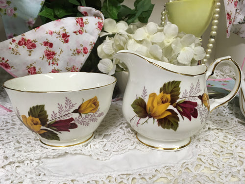 Duchess, Yellow and Red Roses, Creamer and Sugar Bowl c.1950s