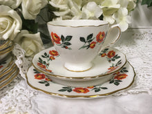 Load image into Gallery viewer, Crown Royal, vintage orange rose tea cup trio set. c.1930s