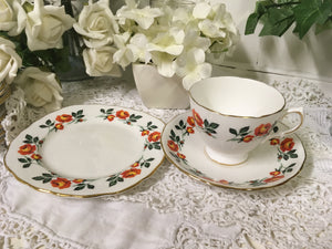 Crown Royal, vintage orange rose tea cup trio set. c.1930s