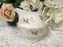 "Load image into Gallery viewer, Duchess, ""Glen 316"" pattern, pink flowers, Creamer and Sugar Bowl c.1960s"