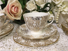 Load image into Gallery viewer, Roya Vale, Gold Floral with Filigree scalloped rims, vintage tea cup trio set. c.1960s