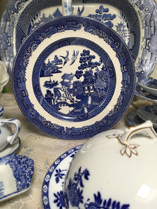 Johnson Bros, Willow, Plate Blue and White Ceramics c.1940 to c.1959