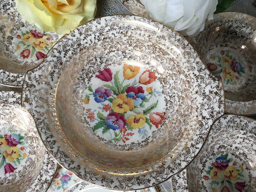 Large Salad Bowl. H&K Tunstall, c1933-1942.  'Old English Needlepoint' pattern.