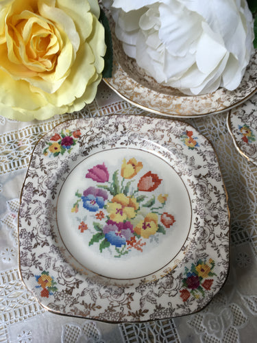 Three, Cake Plates. H&K Tunstall, c1933-1942.  'Old English Needlepoint' pattern.
