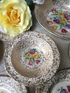 Six Dessert, Fruit Bowls. H&K Tunstall, c1933-1942.  'Old English Needlepoint' pattern.