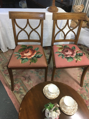 Sheraton Chairs, Pair. Rose Needle point.