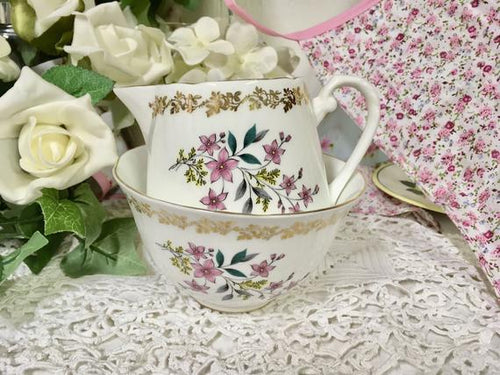 Royal Grafton, Spring flowers, Gold Floral Vintage Creamer and Sugar Bowl.